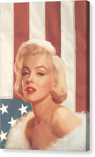 Marilyn Monroe Canvas Print - True Blue Marilyn In Flag by Chris Consani