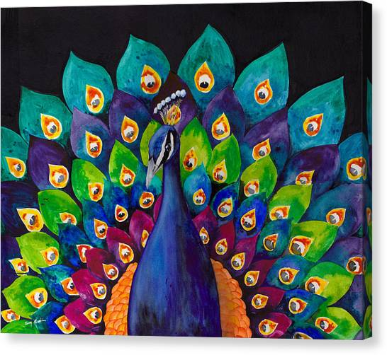 Peacock Canvas Print - True Colors by Susy Soulies