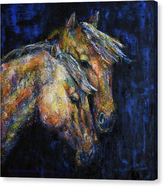 True Companions Contemporary Horse Painting Canvas Print