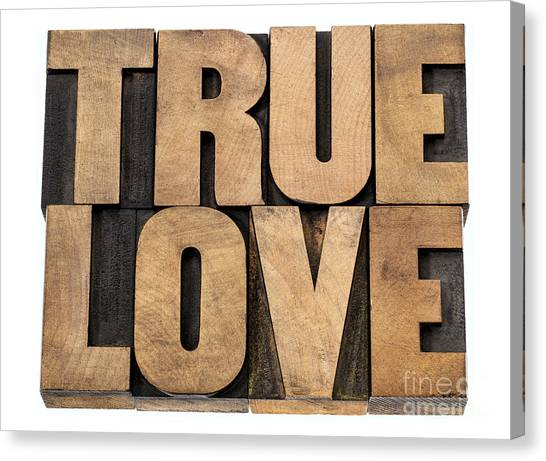 True Love In Wood Type Canvas Print
