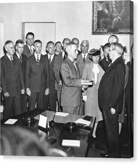 Harry Truman Canvas Print - Truman Becomes President by Underwood Archives