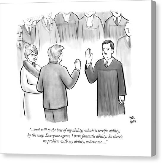 Donald Trump Canvas Print - Trump Being Sworn Into Office by Paul Noth