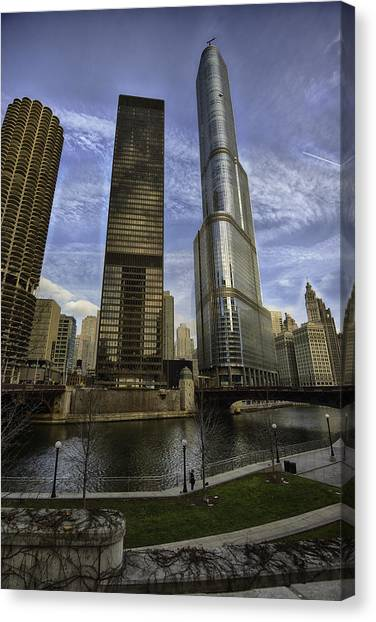 Chicago Canvas Print - Trump Tower And River Front by Sebastian Musial
