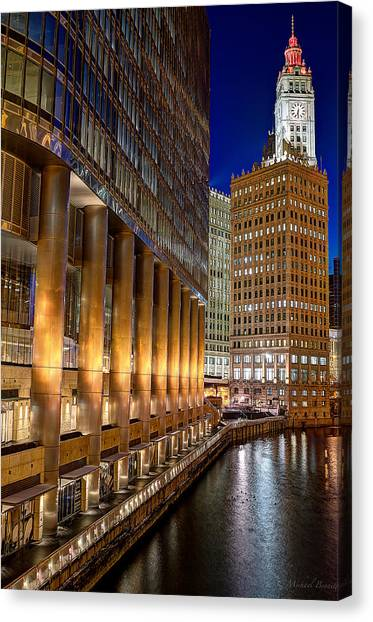 Trump Wrigley Chicago River Blue Hour Canvas Print by Michael  Bennett