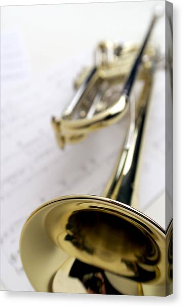 Brass Instruments Canvas Print - Trumpet On Music by Jon Neidert