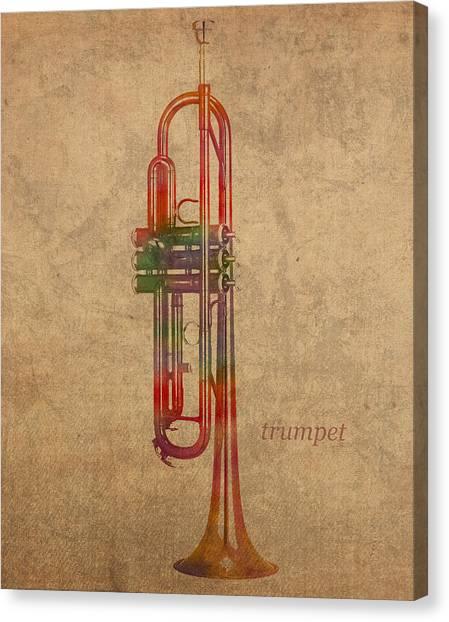 Brass Instruments Canvas Print - Trumpet Brass Instrument Watercolor Portrait On Worn Canvas by Design Turnpike