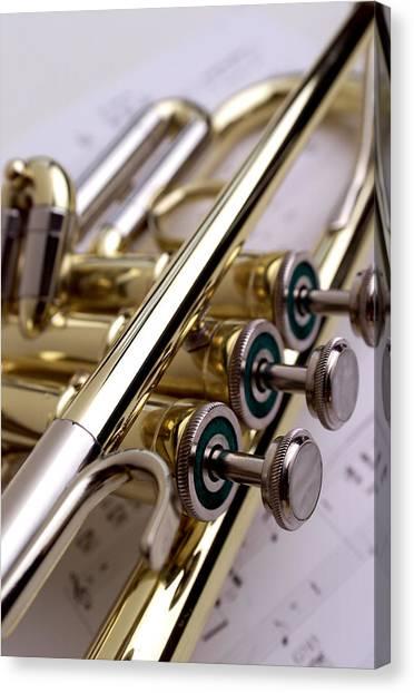 Brass Instruments Canvas Print - Trumpet On Music II by Jon Neidert
