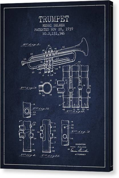 Brass Instruments Canvas Print - Trumpet Patent From 1939 - Blue by Aged Pixel