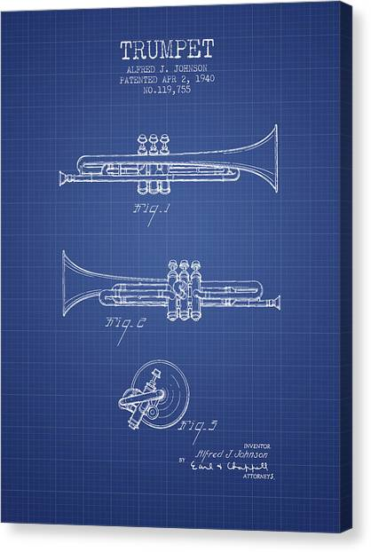 Brass Instruments Canvas Print - Trumpet Patent From 1940 - Blueprint by Aged Pixel
