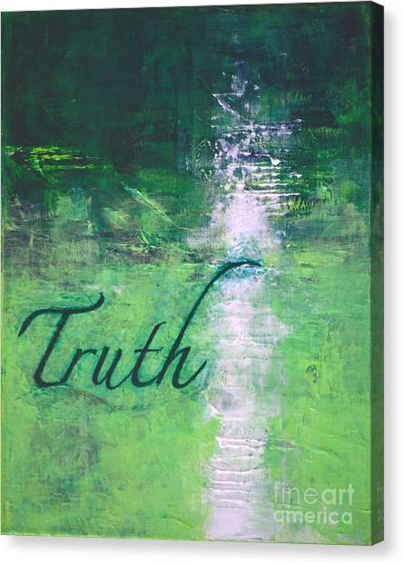 Truth - Emerald Green Abstract By Chakramoon Canvas Print by Belinda Capol