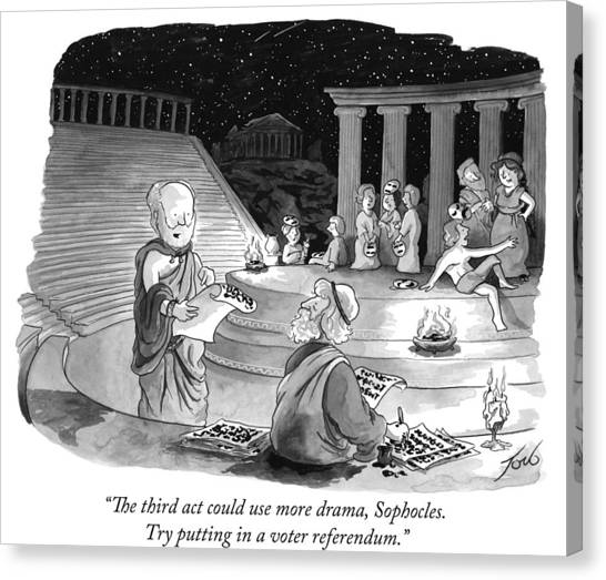 The Amphitheatre Canvas Print - Try Putting In A Voter Referendum by Tom Toro