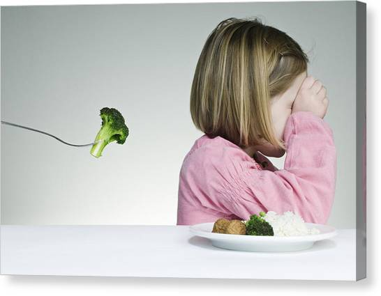 Trying To Get A Child To Eat Her Greens Canvas Print by ClarkandCompany