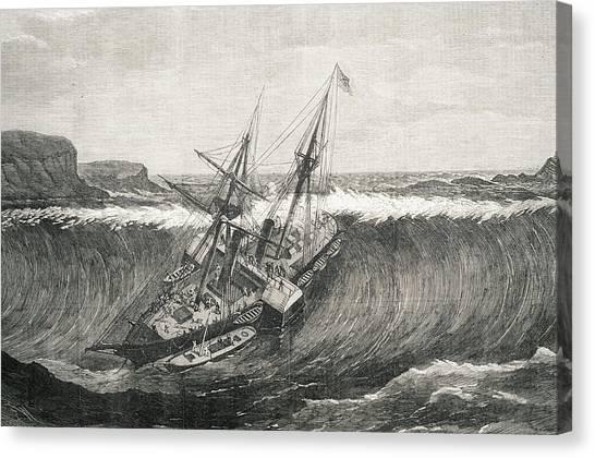 Tsunamis Canvas Print - Tsunami And La Plata Steamship by George Bernard/science Photo Library