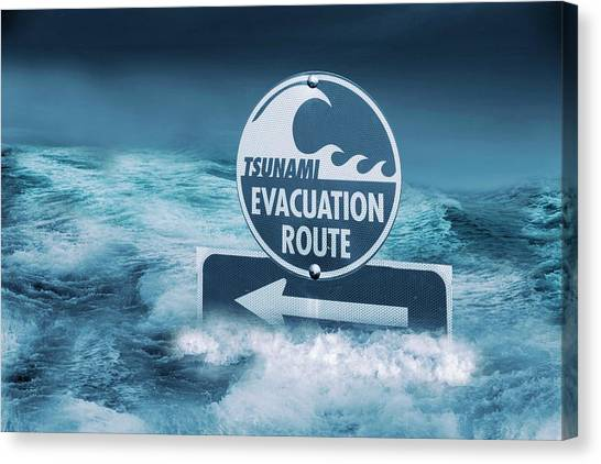Tsunamis Canvas Print - Tsunami Evacuation Route Sign by Tony Craddock/science Photo Library