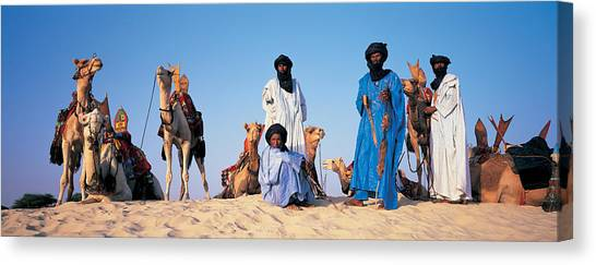 Sahara Desert Canvas Print - Tuareg Camel Riders, Mali, Africa by Panoramic Images