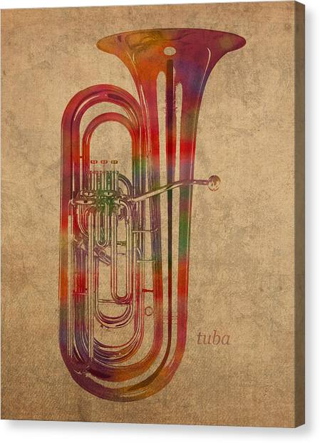 Tubas Canvas Print - Tuba Brass Instrument Watercolor Portrait On Worn Canvas by Design Turnpike