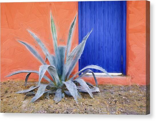 Southwest Canvas Print - Tucson Barrio Blue Door Painterly Effect by Carol Leigh