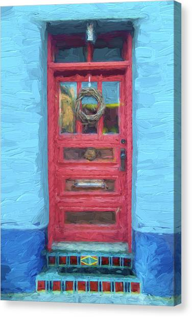 Southwest Canvas Print - Tucson Barrio Red Door Painterly Effect by Carol Leigh