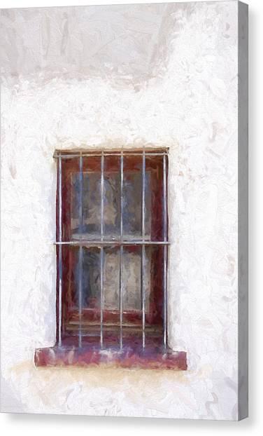 Southwest Canvas Print - Tucson Barrio Window Painterly Effect by Carol Leigh