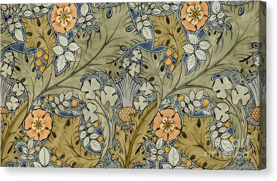 Yellow Flowers Canvas Print - Tudor Roses Thistles And Shamrock by Voysey