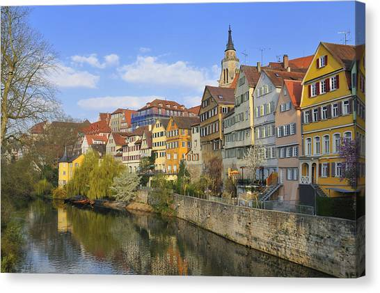 Tuebingen Neckarfront With Beautiful Old Houses Canvas Print