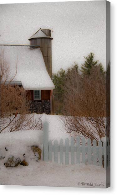 Tuftonboro Farm In Snow Canvas Print