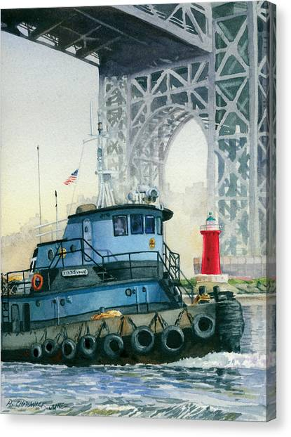 Tugboat Canvas Print - Tugboat And The Little Red Lighthouse by Marguerite Chadwick-Juner