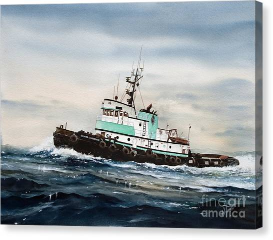 Tugboat Canvas Print - Tugboat Island Champion by James Williamson