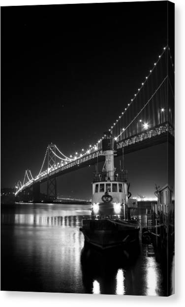 Tugboat Under The Bay Bridge Canvas Print