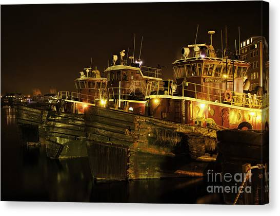 Tugboats 1st Night Dec 2013 Canvas Print