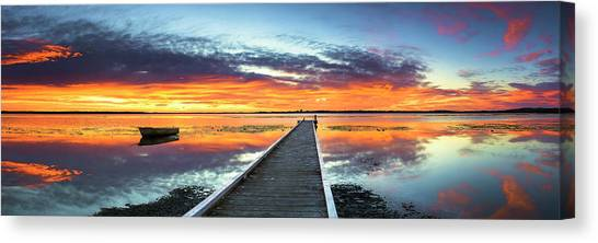 Tuggerah Lake Jetty Canvas Print by Bruce Hood
