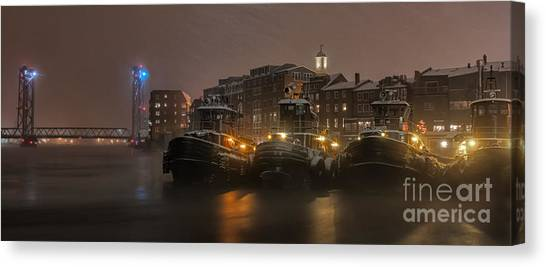 Tugboat Canvas Print - Tugs In The Snow by Scott Thorp