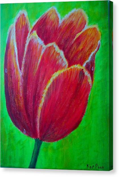 Tulip In Bloom Canvas Print by Kat Poon