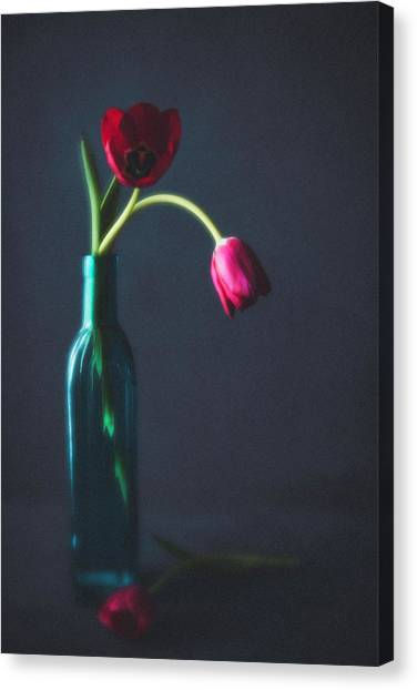 Vase Of Flowers Canvas Print - Tulip Still Life For Mothers Day by Catlane