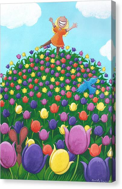 Easter Bunny Canvas Print - Tulip Time Painting by Christy Beckwith