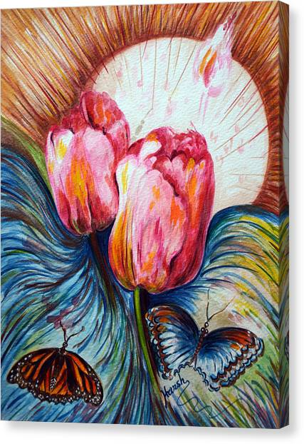 Tulips And Butterflies Canvas Print