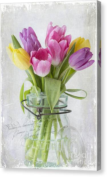 Tulips In A Jar Canvas Print