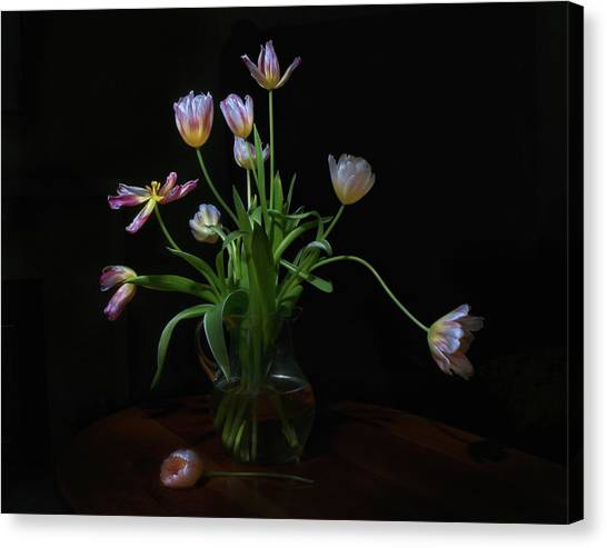 Vase Of Flowers Canvas Print - Tulips by Karen Von Knobloch Photographerkaren