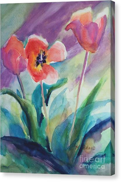 Tulips With Lavender Canvas Print
