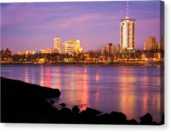 University Of Arkansas University Of Arkansas Canvas Print - Tulsa Oklahoma - University Tower View by Gregory Ballos
