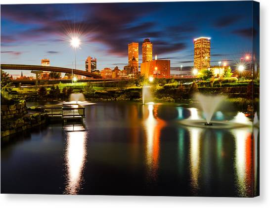 Canvas Print featuring the photograph Tulsa Oklahoma City Lights by Gregory Ballos