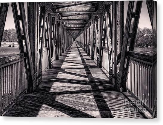 Tulsa Pedestrian Bridge In Black And White Canvas Print