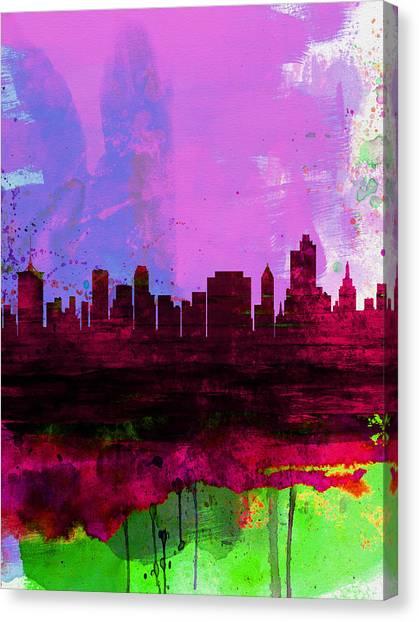 Places Canvas Print - Tulsa Watercolor Skyline 2 by Naxart Studio