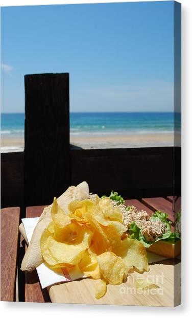 Mayonnaise Canvas Print - Tuna Sandwich With Beach Front by Luis Alvarenga