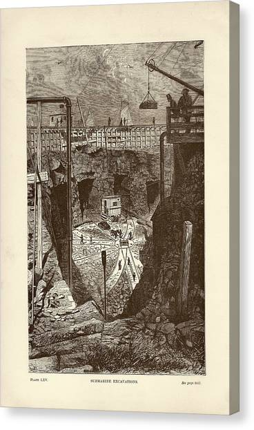 1880s Canvas Print - Tunnel Construction by Art And Picture Collection/new York Public Library