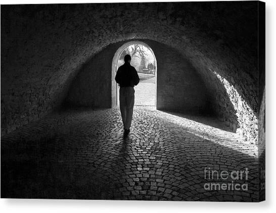 Tunnel Silhouette Bw Canvas Print