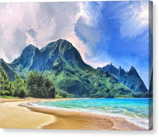 Mauna Loa Canvas Print - Tunnels Beach Kauai by Dominic Piperata
