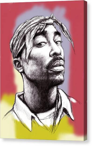 All Star Canvas Print - Tupac Shakur Morden Art Drawing Portrait Poster by Kim Wang