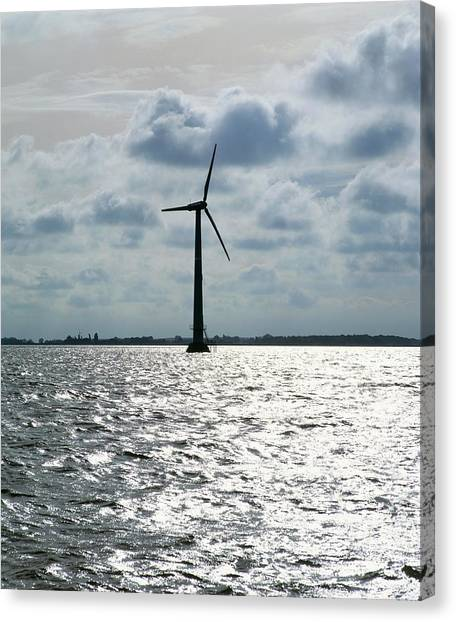 Wind Farms Canvas Print - Turbine At Onsveig Off-shore Wind Farm by Martin Bond/science Photo Library