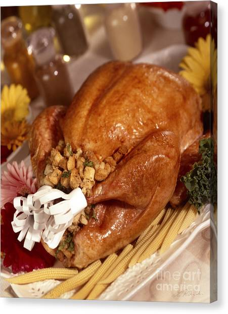 Stuffing Canvas Print - Turkey With Stuffing And Corn by Iris Richardson